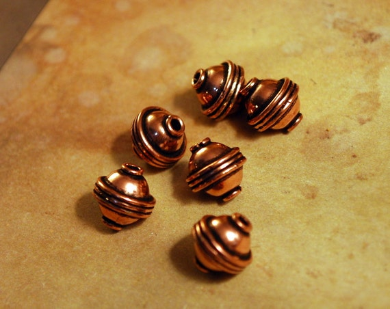 QTY 6  - Solid Copper Barrel Spacer 10mm Bead Findings -  Free Shipping US