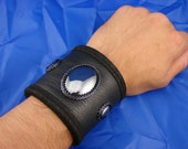 Men's Black Leather and Beaded Hematite Cabochon Cuff with Hidden Pocket