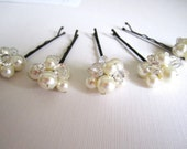 FREE SHIPPING Swarovski Pearl and Crystal Bobbies Set of 5 Pins in White or Ivory
