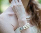 FREE SHIPPING Triple Strand Swarovski Pearl Bridal Bracelet in Ivory or White