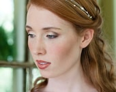 Bridal Headband Three Strand Swarovski Pearl and Crystal Hairband Simple and Modern