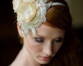 Handmade Bridal Mini Hat with Three Dupioni Silk Flowers and Rhinestone Details