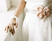 NEW Handmade Floral Bridal Sash in Blush Pink Dupioni Silk and Grey Satin with Rhinestone Beaded Leaves - FineNFleurie