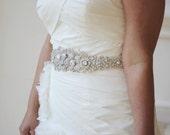 Dramatic Rhinestone Encrusted Bridal Sash in Ivory or White