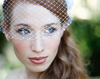 Bridal Birdcage Veil with Swarovski Pearl Edge Easy Fit in Ivory or White French Netting