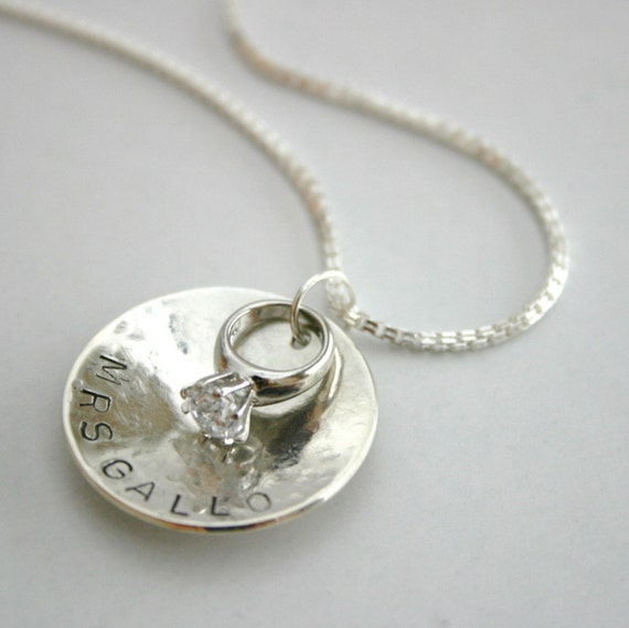 BRAND NEW Completely Custom Mrs Necklace in Sterling with Miniature Diamond Ring Charm RESERVED for Mrs. Bissell