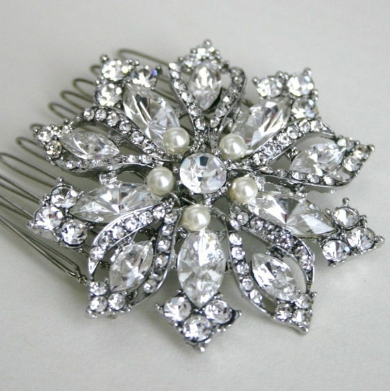 Rhinestone Flower Glamorous Bridal Comb with Swarovski Pearls in White or Ivory