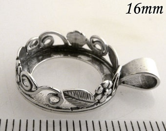 2pcs x Round 16mm Bezel Cups Setting Antique (Oxidized) Sterling Silver 925 (8430)
