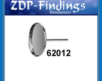 6pcs x Round 12mm Bezel Earrings on Post For Gluing include ear backs Sterling Silver 925 (62012)