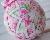 pink and white quilted ornament - daisy - lilly pulitzer fabric