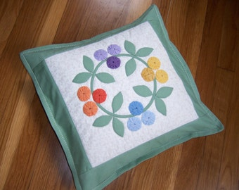 Hand Appliqued Quilted Pillow