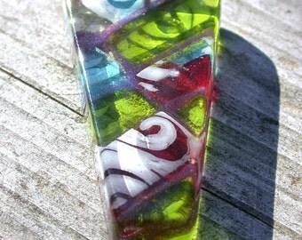 Large Multicolor Fused Glass Pendant