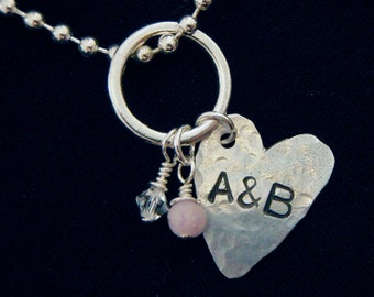 Rustic Heart Necklace with 2 Stamped Initials
