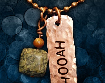 HOOAH Stamped Copper Tag Necklace with Green & Amber Natural Beads Charm