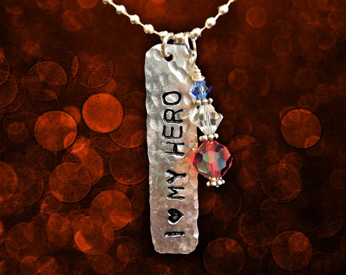 Featured listing image: I (heart) MY HERO Stamped Tag Necklace with Patriotic Swarovski Charm