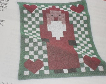Custom Hand Crocheted Santa Afghan for Christmas Present Gift Made to Order 6-8 weeks delivery Order Now for Christmas