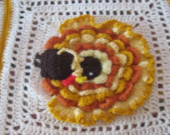 Hand Crocheted Custom Thanksgiving Turkey Afghan Made to Order So Order Now for Thanksgiving!