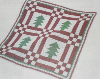 Custom Hand Crocheted Pine Tree Afghan for Christmas and the Winter Season Present Gift Made to Order 6-8 weeks delivery Order Now