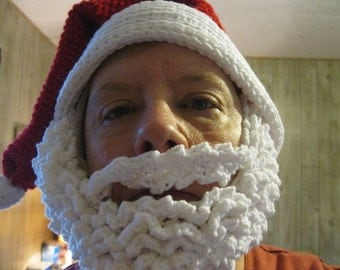 Ho Ho Ho Adut Crocheted Santa Hat and Beard Gift Gag Gift Christmas Photo Prop