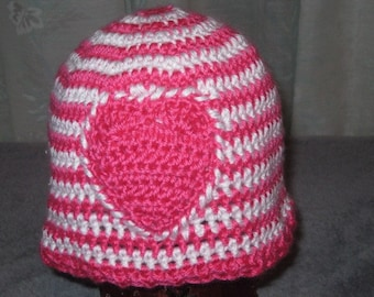 Hot Pink and White Crocheted Hat with Pink Heart,  Child Size