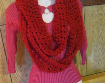Red Infinity Scarf Fashion Statement Christmas Present Gift Stocking Stuffer Birthday Valentines Mothers Day FREE GIFT