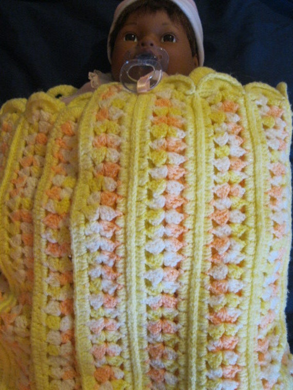 Afghan for Baby in Pastel Orange, Yellow and White, Bordered in White, Mile a Minute Pattern