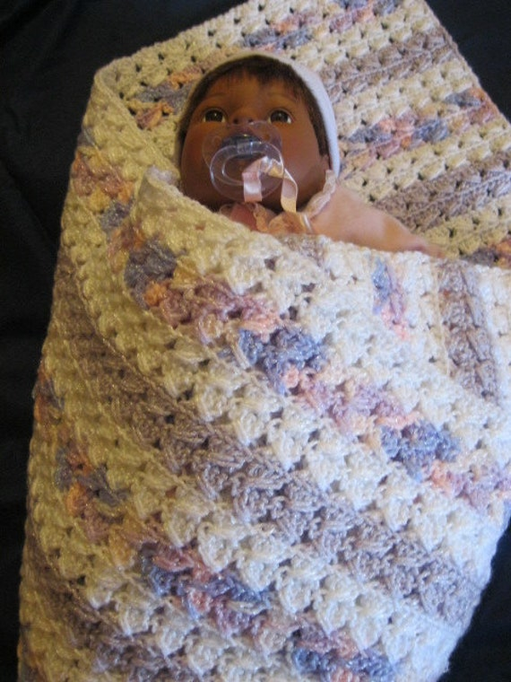 Soft and Cuddly Sparkly Varigated, Lavender and White Baby Blanket