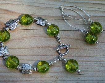 Peridot Pop Bracelet and Earrings