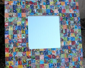 2' x 2'  Whimsical, Fun, Colorful Mosaic  Mirror Frame w/ Recycled Aluminum Peace Tea Cans