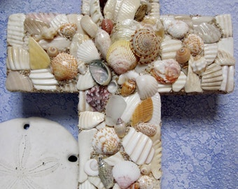 Handcrafted Mosaic Seashell Shell Cross
