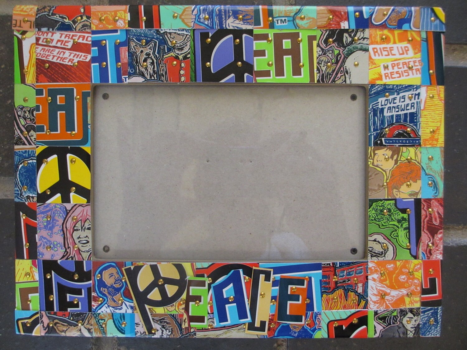 Peace Love Colorful Mosaic Picture Frame W Recycled Aluminum