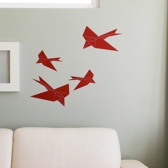 Origami Swallows (set of 4) - Vinyl wall art decals birds graphic stickers