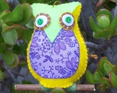 Plush Felt Owl Perched on a branch - Hanging Ornament