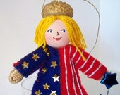 Felt Art Doll Love my Stars and Stripes Pixie