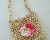 Handmade Crochet School Bag for dolls Fits 18 inch doll, Handmade Doll Shopping Bag