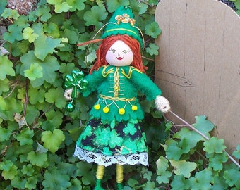 Handmade Felt Doll, Cecile the Celtic Dancer  Hanging Ornament, St Patrick's Day Ornament