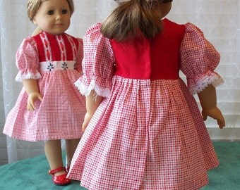 Handmade Doll Dress fits 18 inch dolls Red Festive Dress