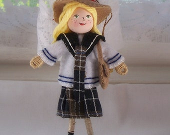 Art Doll Back to School Girl in Uniform hanging ornament