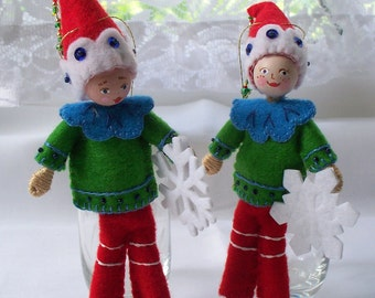 Christmas Ornament - Felt Art Doll - Elf playing with First Christmas Snow