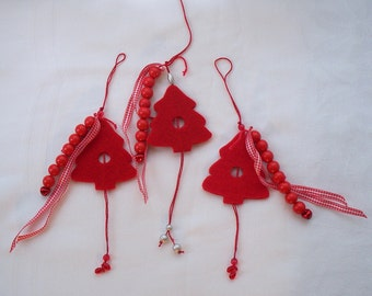 Christmas Ornament Red Christmas Tree Hanging Ornament Holiday ornament, felt red Christmas tree with beaded string, Christmas tree ornament