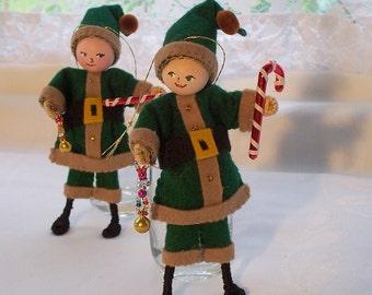 Felt Art Doll - Holiday Ornament - Vintage Green Santa Claus