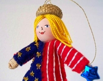 Handmade Felt and Fabric Doll 4th of July Art Doll Love my Stars and Stripes Pixie Patriotic Bendy Doll with Stars