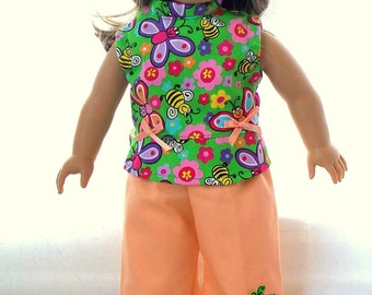Handmade Doll Clothes Summer Cropped, Peach Pants Suit fits 18 inch dolls