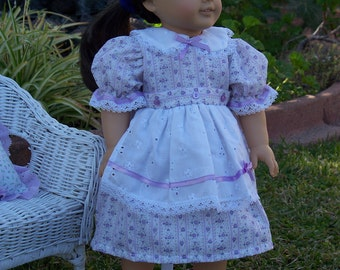 Handmade Doll Clothes Lavender Floral Doll Fits 18 inch dolls