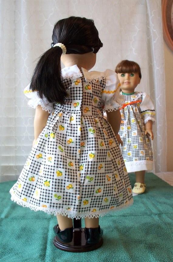 Handmade Doll Dress fits 18 inch doll, Fruit Celebration Doll Dress