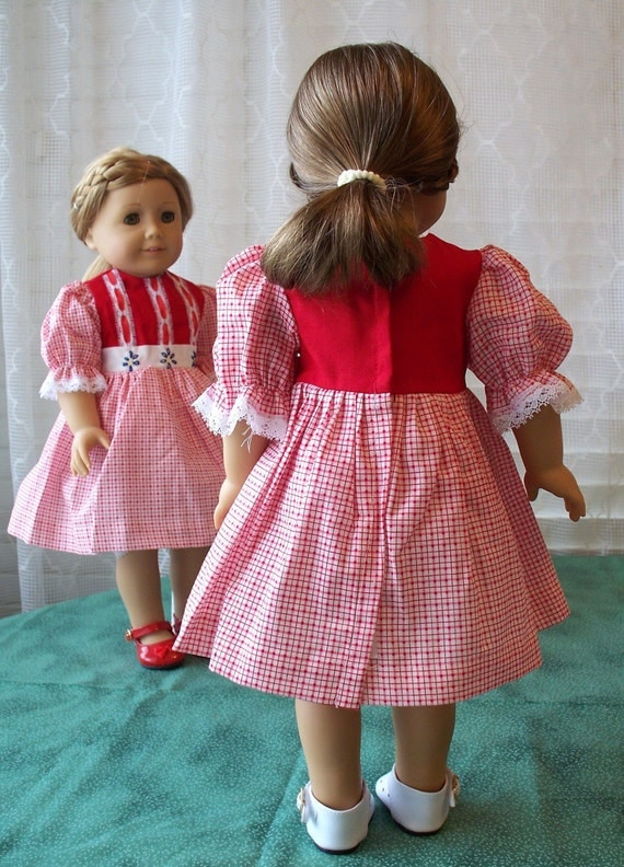 Handmade Doll Dress fits 18 inch dolls Red Festive Dress