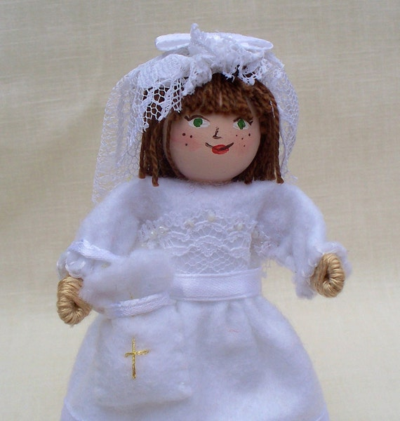 First Communion Girl, Piksee Doll, Felt Art Doll