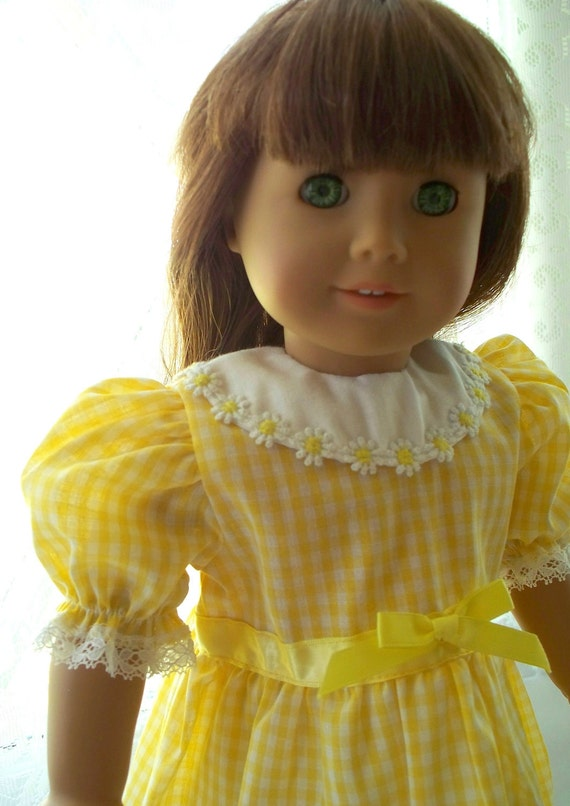 Yellow Gingham Doll Dress fits 18 inch doll or American Girl Doll