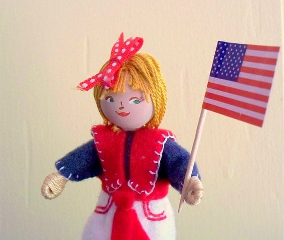 Felt Art Doll - Independence Day Parade Piksee in Sailor Suit