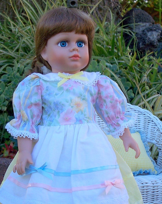 American Girl Doll Clothes - Pastel Flowers Dress fit 18 inch Doll